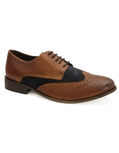 Cass Leather & Suede Two Tone Brogue - Tan & Navy