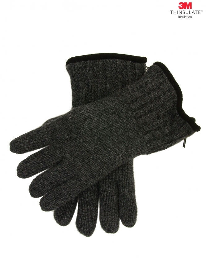 Dents Casual Knitted Glove with Side Zip - Charcoal