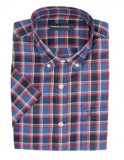 Cerne Pure Cotton Half Sleeve Check Shirt - Blue & Red