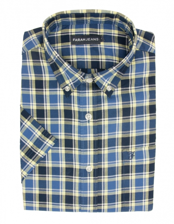 Farah Cerne Pure Cotton Half Sleeve Check Shirt - Blue & Yellow
