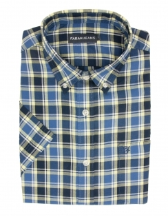 Cerne Pure Cotton Half Sleeve Check Shirt - Blue & Yellow