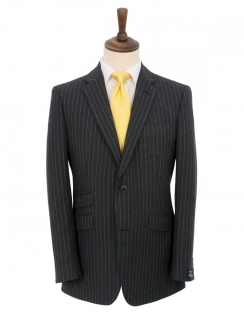 Charcoal Chalk Stripe Pure New Wool Suit Jacket