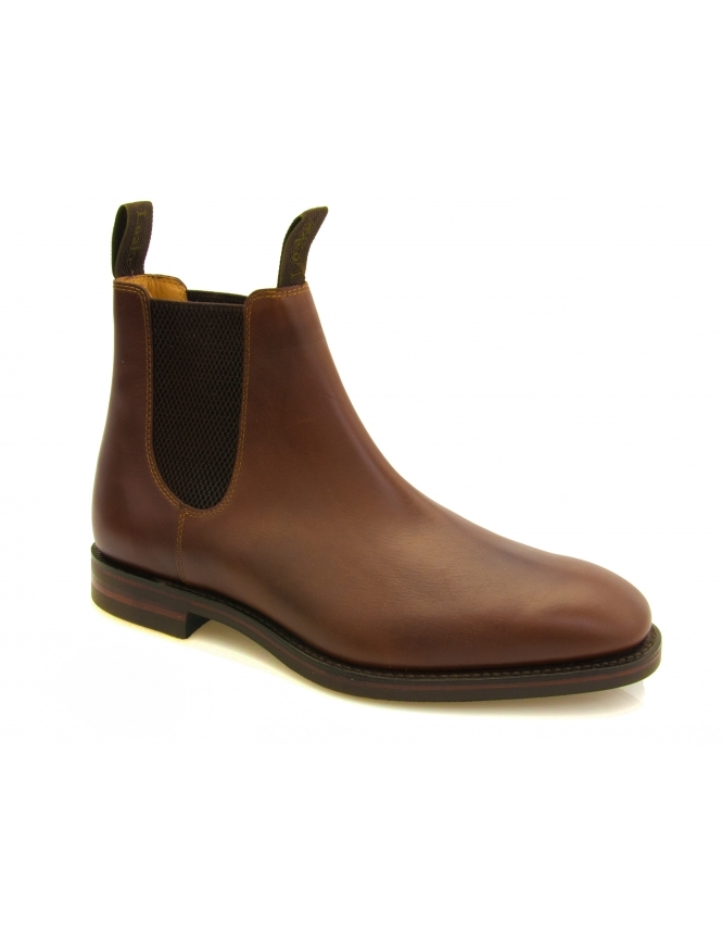 Loake Chatsworth Leather Chelsea Boot With Dainite Rubber Sole - Brown