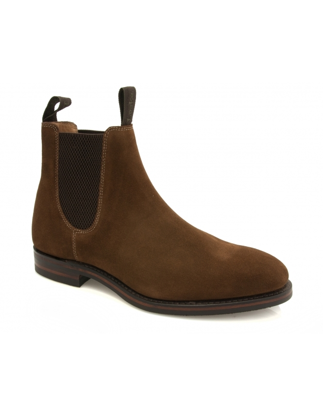 Loake Chatsworth Suede Chelsea Boot With Dainite Sole - Brown