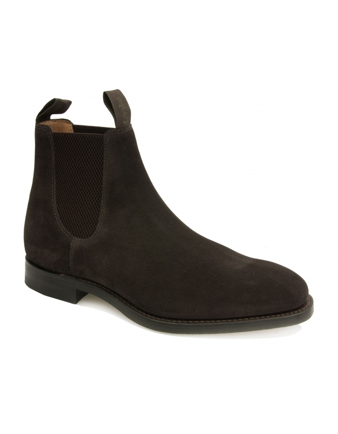 Loake Chatsworth Suede Chelsea Boot With Dainite Sole - Dark Brown