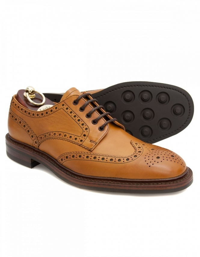 Loake Chester Tan Calf Brogue Derby Lace Shoes with Dainite Rubber Sole