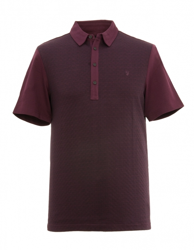 Farah Chinley Pure Cotton Textured Polo Shirt - Burgundy
