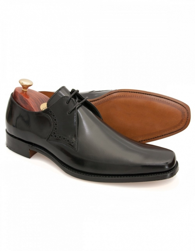 Barker Clarke Black Polished 2 Eye Plain Front Gibson Lace Shoes
