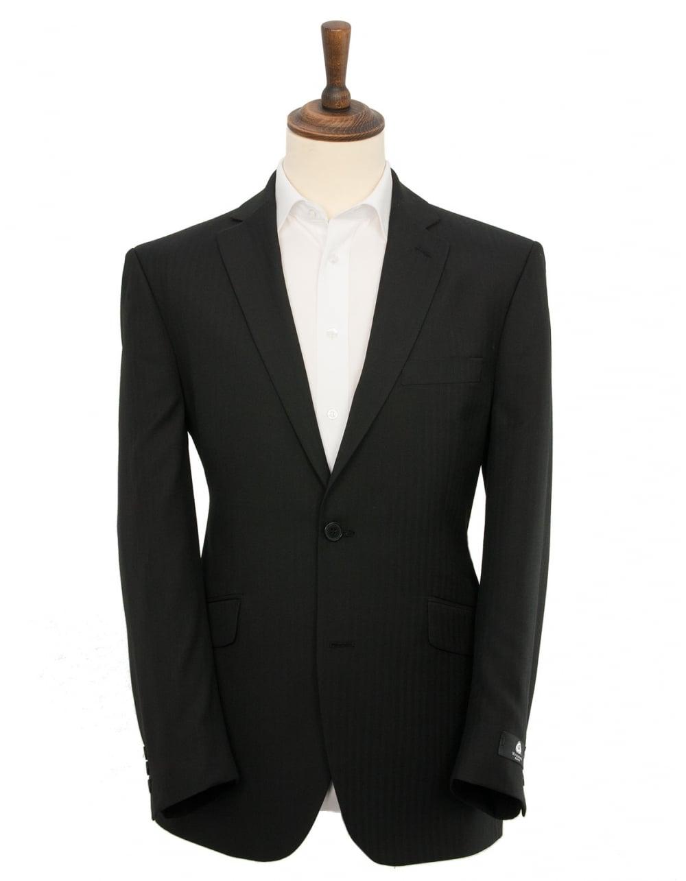 Classic Fit Herringbone Suit - Black   Fields Menswear