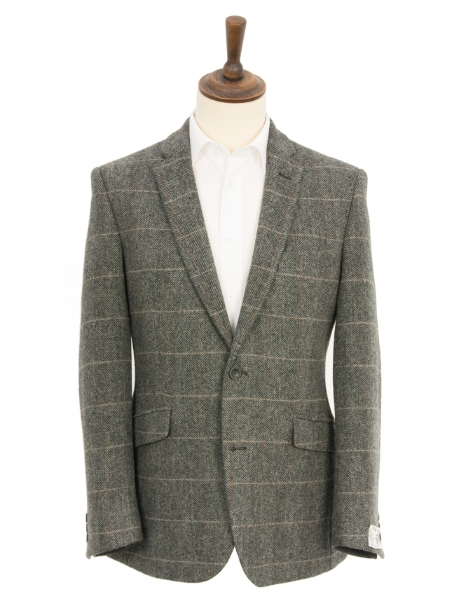 Scott Classic Fit Pure New Wool Herringbone Check Jacket - Grey