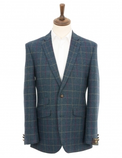 Classic Fit Pure New Wool Multi Check Jacket - Petrol