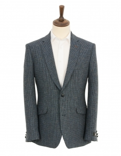 Classic Fit Pure New Wool Waffle Check Jacket - Blue