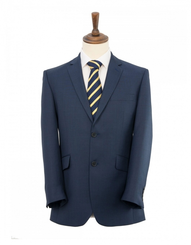 Scott Classic Fit Sharkskin Suit Jacket - Ink Blue