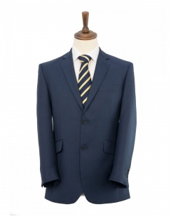 Classic Fit Sharkskin Suit Jacket - Ink Blue