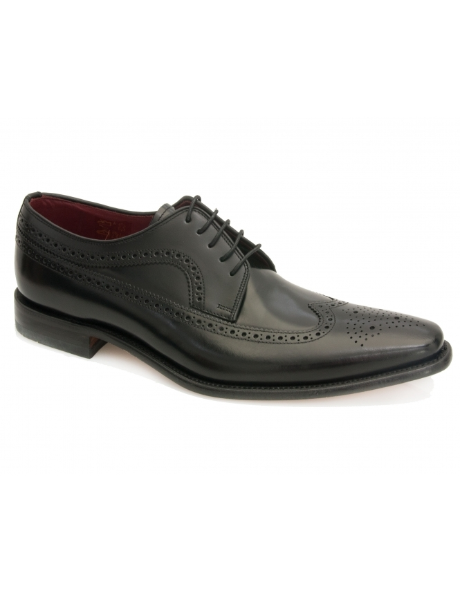 Loake Clint Black Polished Long Wing Derby Brogue
