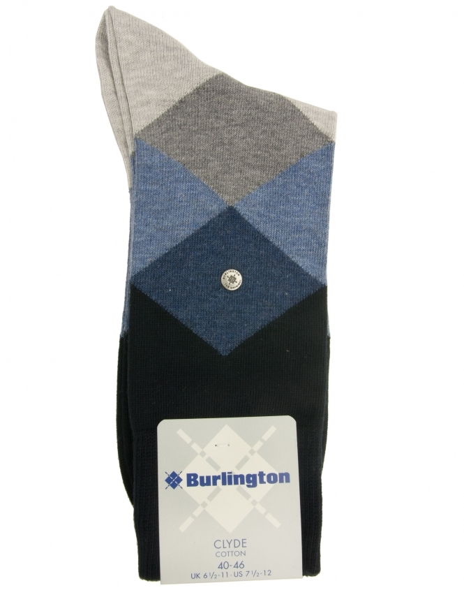Burlington Clyde Argyle Sock - Blue Grey