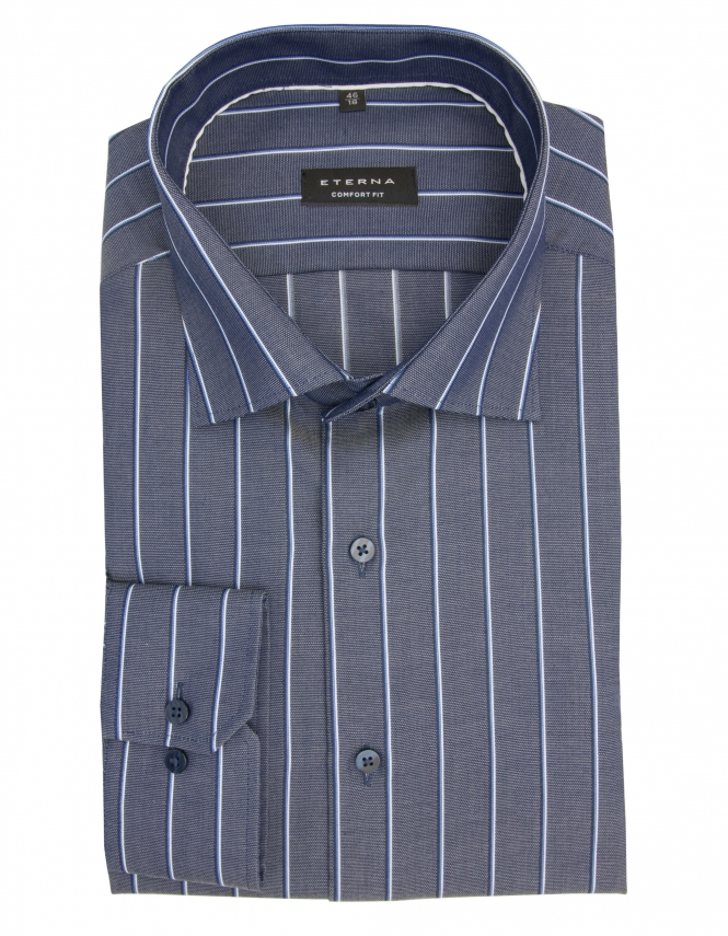 Eterna Comfort Fit Long Sleeve Pure Cotton Striped Shirt - Navy