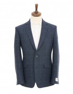 Contemporary Fit Pure New Wool Herringbone Check Jacket - Navy
