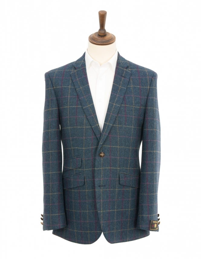 Scott Contemporary Fit Pure New Wool Multi Check Jacket - Petrol