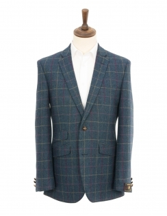 Contemporary Fit Pure New Wool Multi Check Jacket - Petrol