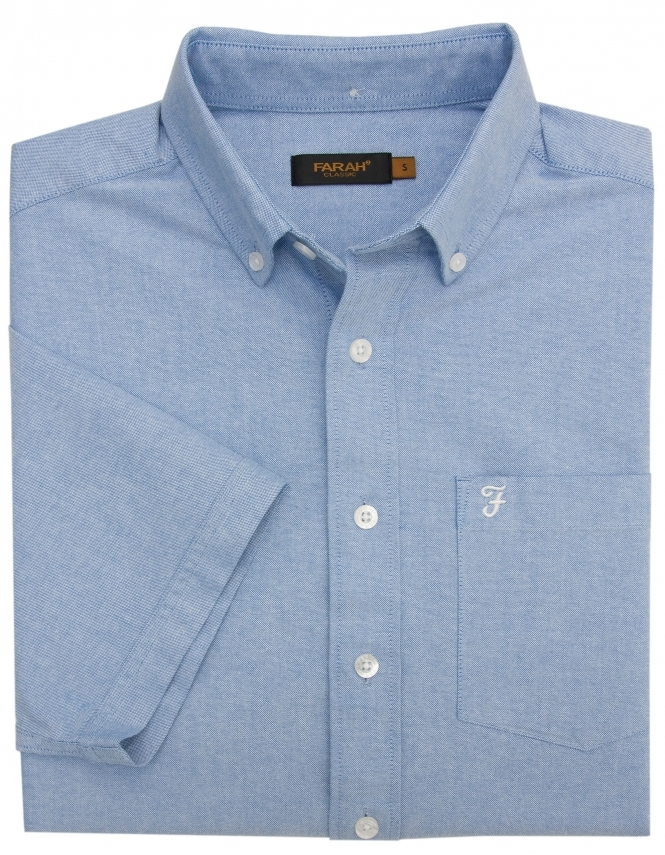 Farah Cookson Half Sleeve Shirt-Regatta Blue