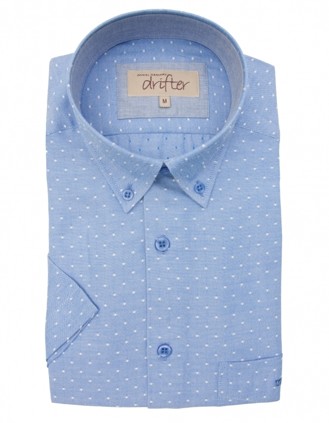 Drifter by Daniel Grahame Cotton Rich Half Sleeve Casual Shirt - Blue Dots Design