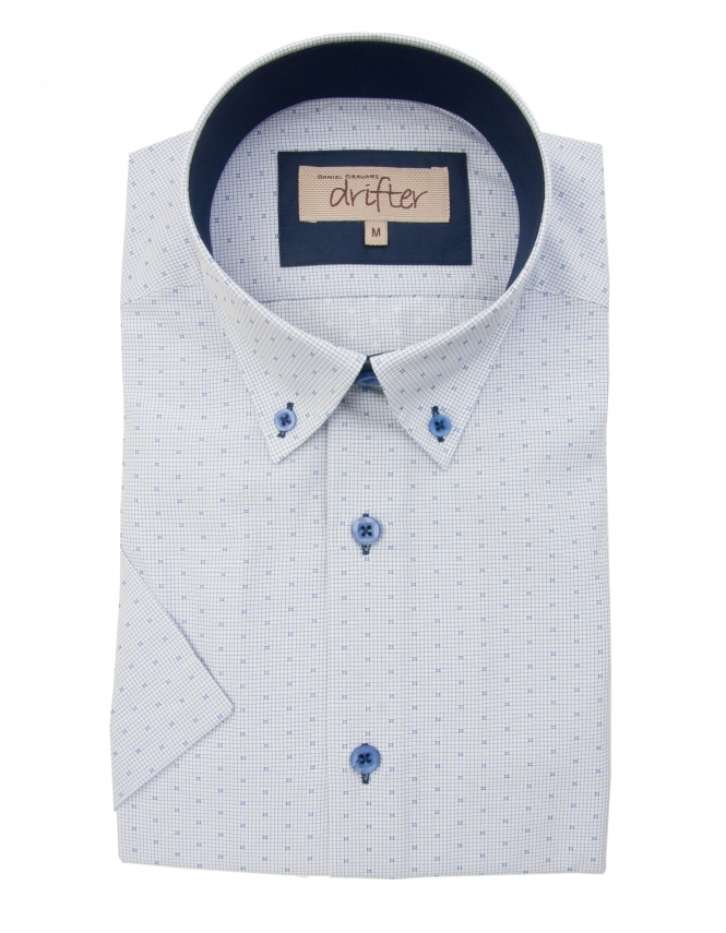 Drifter by Daniel Grahame Cotton Rich Half Sleeve Casual Shirt - Blue Micro Check