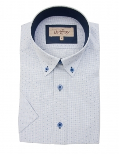 Cotton Rich Half Sleeve Casual Shirt - Blue Micro Check