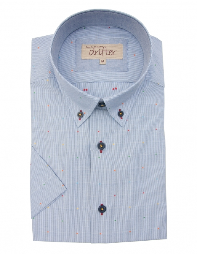 Drifter by Daniel Grahame Cotton Rich Half Sleeve Casual Shirt - Blue Multi dots