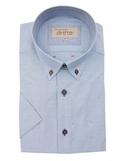 Cotton Rich Half Sleeve Casual Shirt - Blue Multi dots