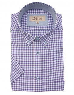 Cotton Rich Half Sleeve Casual Shirt - Lilac Gingham