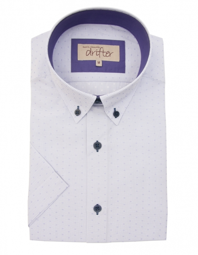 Drifter by Daniel Grahame Cotton Rich Half Sleeve Casual Shirt - Lilac Micro Check