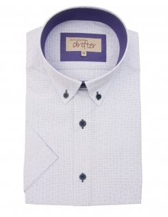 Cotton Rich Half Sleeve Casual Shirt - Lilac Micro Check