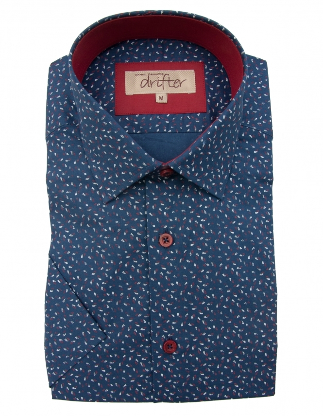 Drifter by Daniel Grahame Cotton Rich Half Sleeve Casual Shirt - Navy Dobby