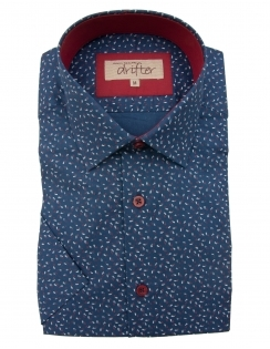 Cotton Rich Half Sleeve Casual Shirt - Navy Dobby