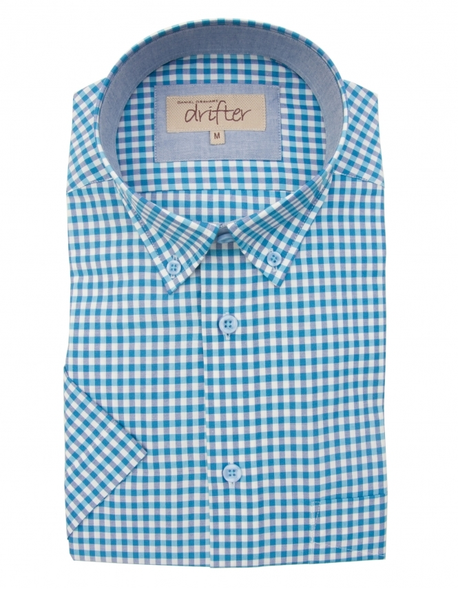 Drifter by Daniel Grahame Cotton Rich Half Sleeve Casual Shirt - Turquoise Gingham