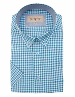 Cotton Rich Half Sleeve Casual Shirt - Turquoise Gingham