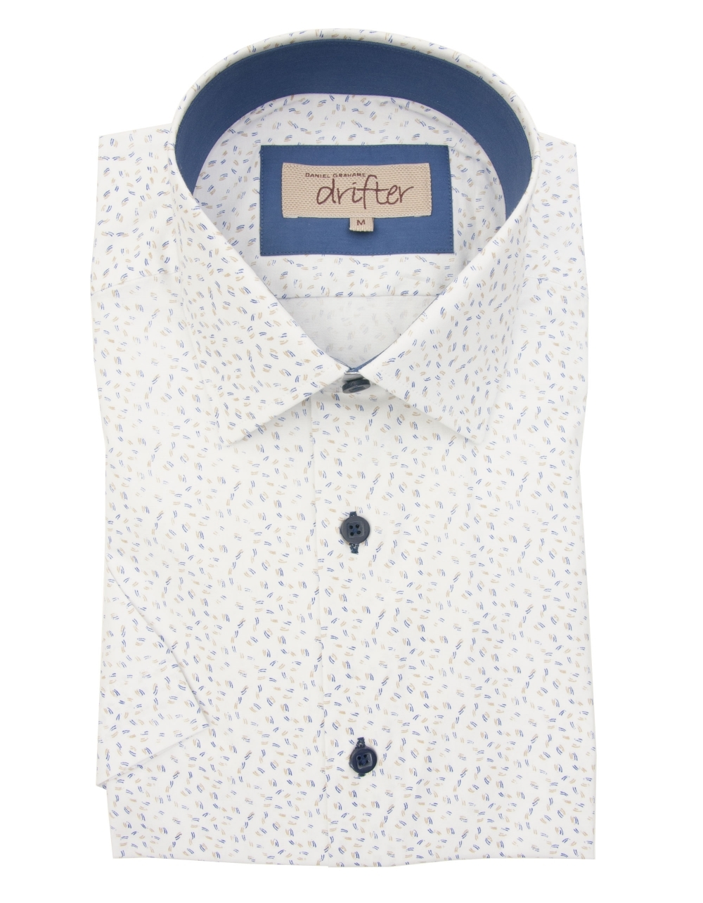 Cotton rich half sleeve casual shirt white dobby for White shirt brown buttons