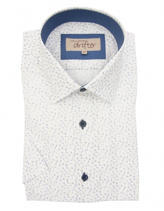 Drifter by Daniel Grahame Cotton Rich Half Sleeve Casual Shirt - White Dobby