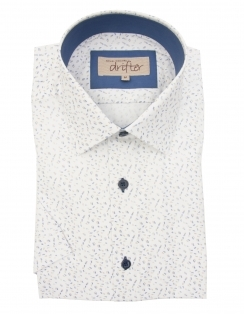 Cotton Rich Half Sleeve Casual Shirt - White Dobby