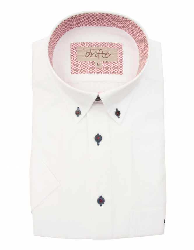 Drifter by Daniel Grahame Cotton Rich Half Sleeve Casual Shirt - White With Detail Trim
