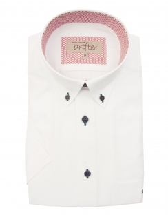 Cotton Rich Half Sleeve Casual Shirt - White With Detail Trim