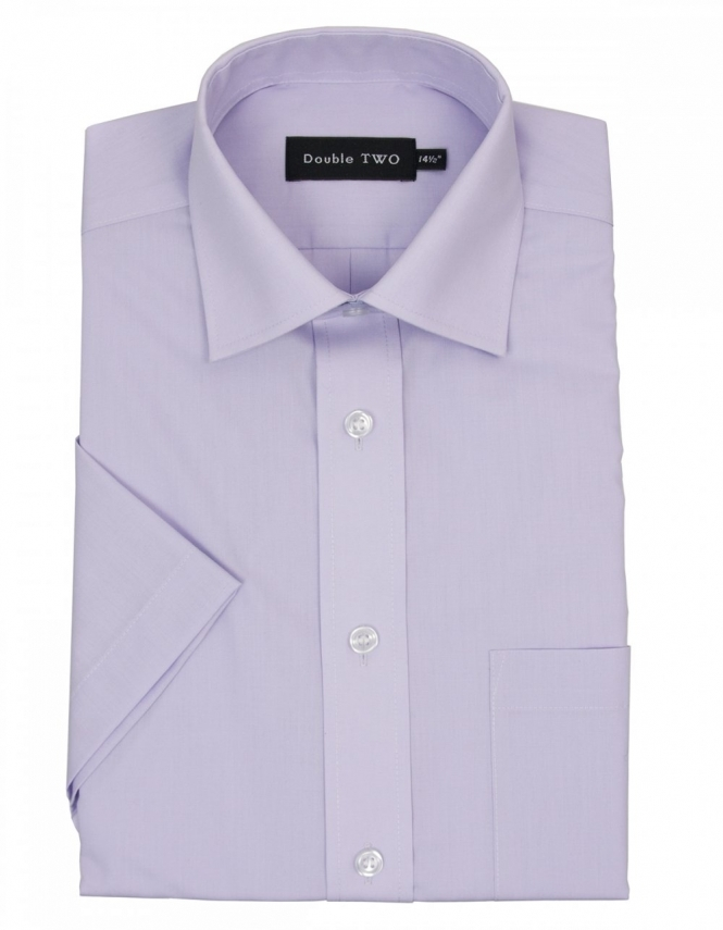 Double Two Cotton Rich Non Iron Half Sleeve - Lilac