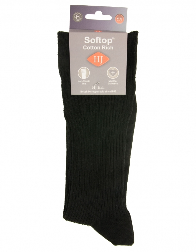 H J Hall Cotton Softop Sock - Black