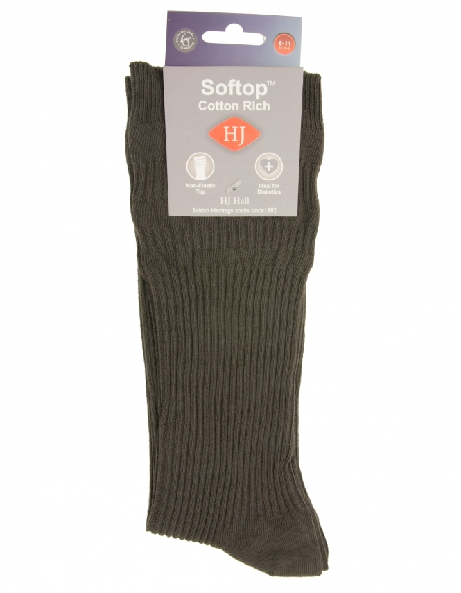 H J Hall Cotton Softop Sock - Olive