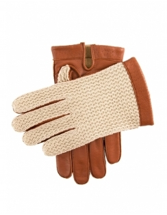 Crochet Back Mens Glove - Cognac