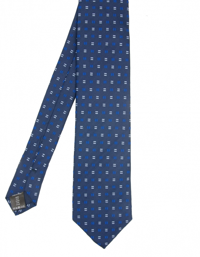 Michaelis Dashes Design Woven Silk Tie - Navy & Blue