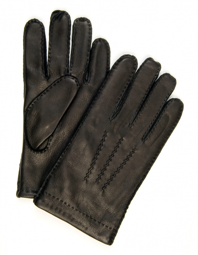 Profuomo Deer Nappa Leather Gloves - Black