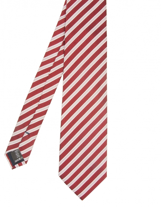 Michaelis Diagonal Stripe Design Woven Silk Tie - Red