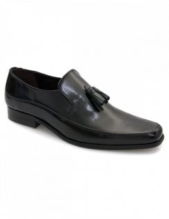 Dock Black Polished Tassle Loafer